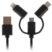 Кабель USB2.0-AM/microUSB/Lightning/Type-C 0,95м LuazON черный 4283687 * Кабель